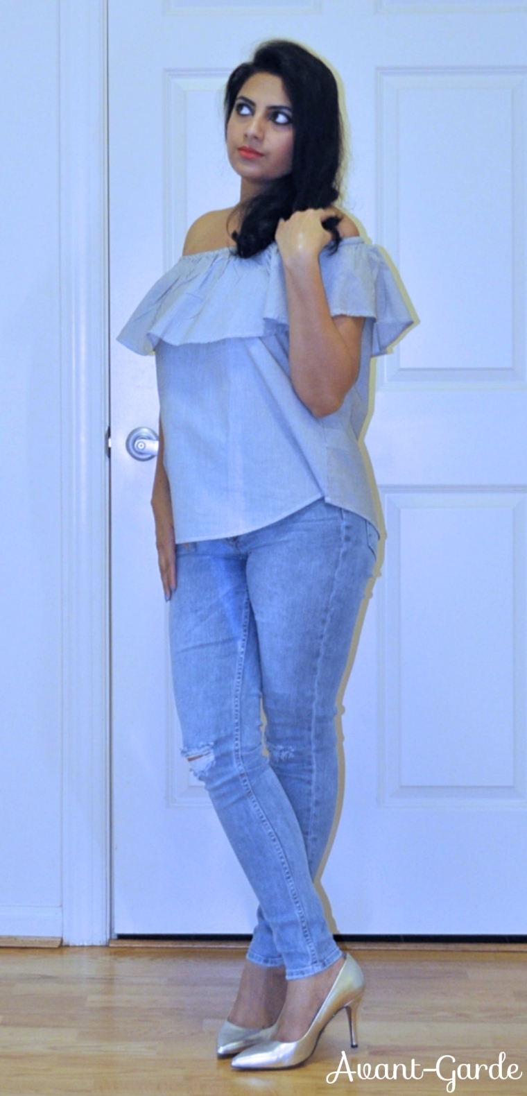 distress jeans off shoulder