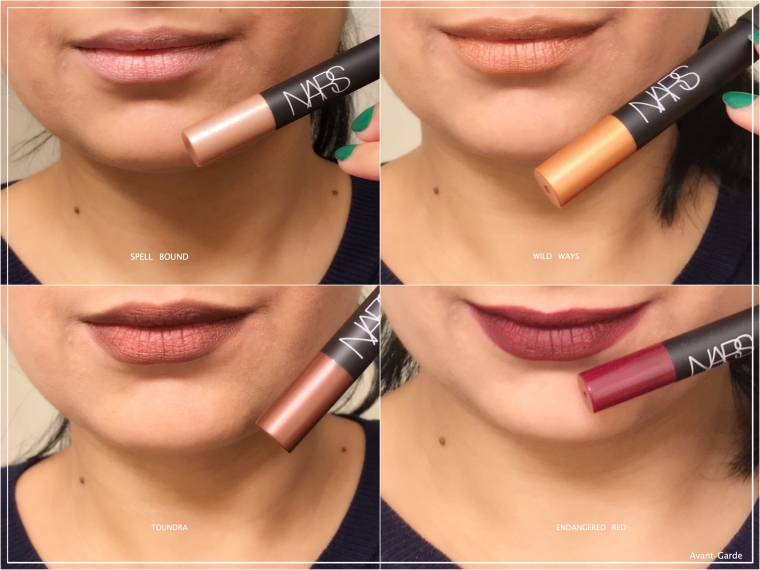 NARS x Man Ray The Kiss Velvet Matte Lip Pencil Set swatches on Indian skintone