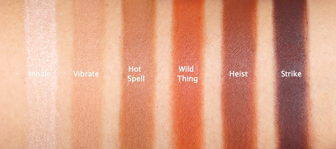 urban decay petite heat palette swatches on indian skin